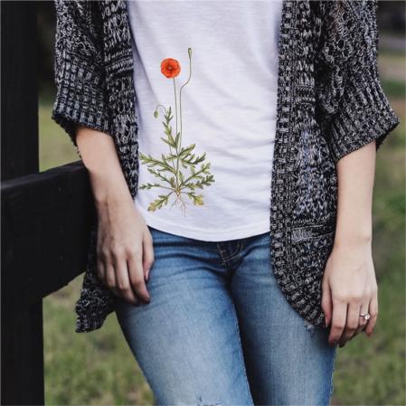 Tricou botanic Mac de câmp [2]