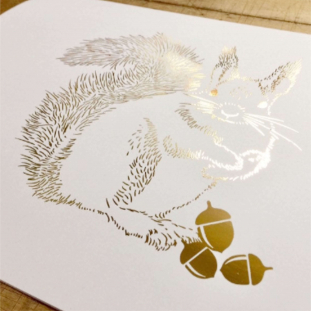 Tablou Veverita cu ghinde, 24x30cm, colaj metalic auriu, animalele padurii7