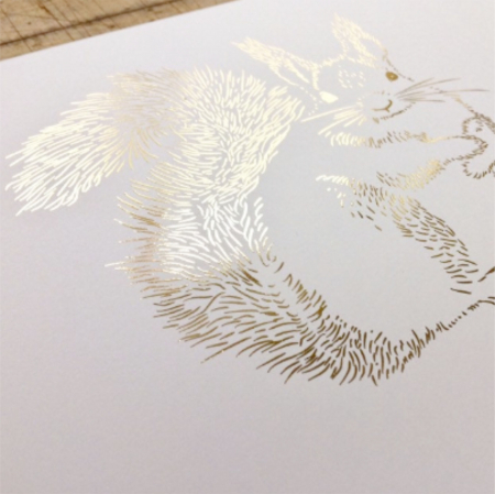 Tablou Veverita cu ghinde, 24x30cm, colaj metalic auriu, animalele padurii6