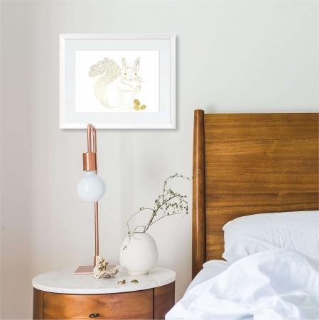 Tablou Veverita cu ghinde, 24x30cm, colaj metalic auriu, animalele padurii4