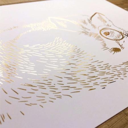 Vulpea cea sireata, colaj metalic auriu, animalele padurii [4]