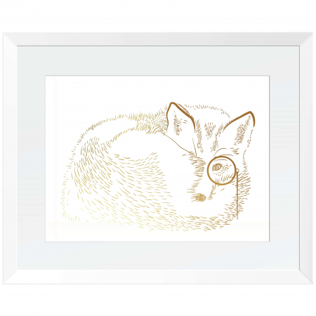 Vulpea cea sireata, colaj metalic auriu, animalele padurii [0]