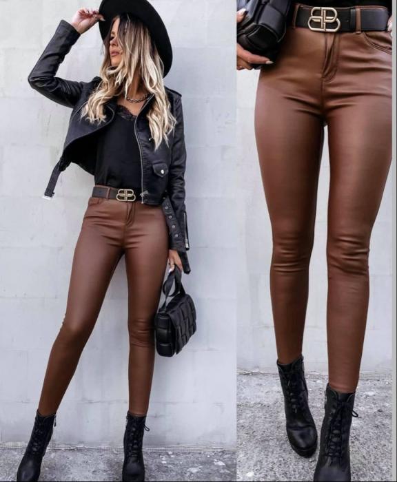 Pantaloni pelicula piele BROWN 0