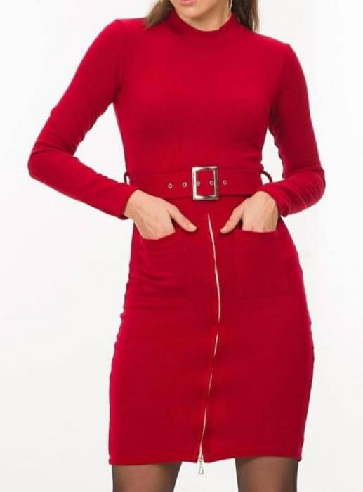 Rochie elastica cu centura RED [0]