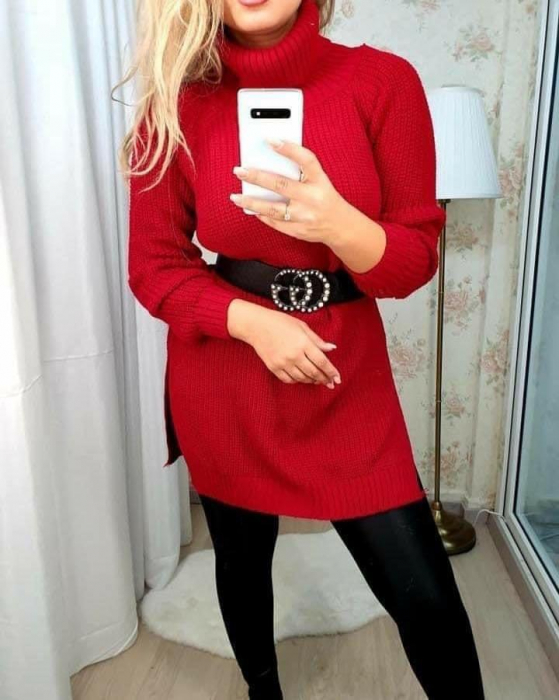 Rochie-pulover MELISSA- ROSU [0]