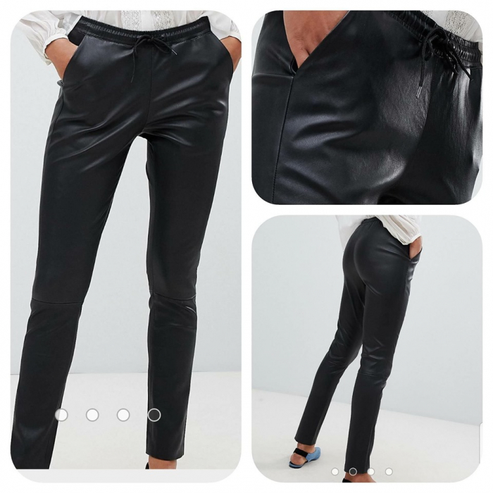 Pantaloni piele cu siret 0