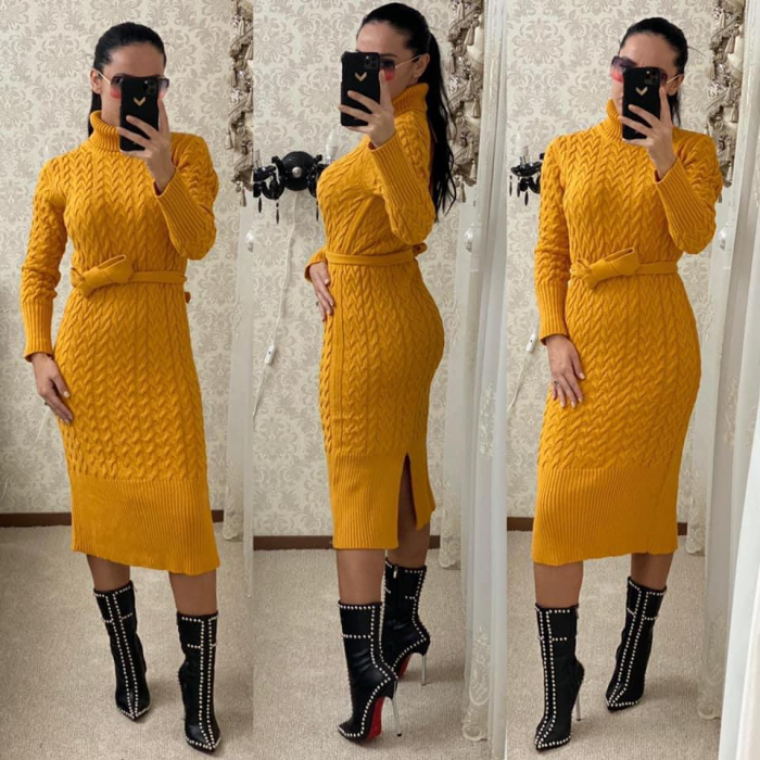 Rochie tricot MELANIE - GALBEN [1]