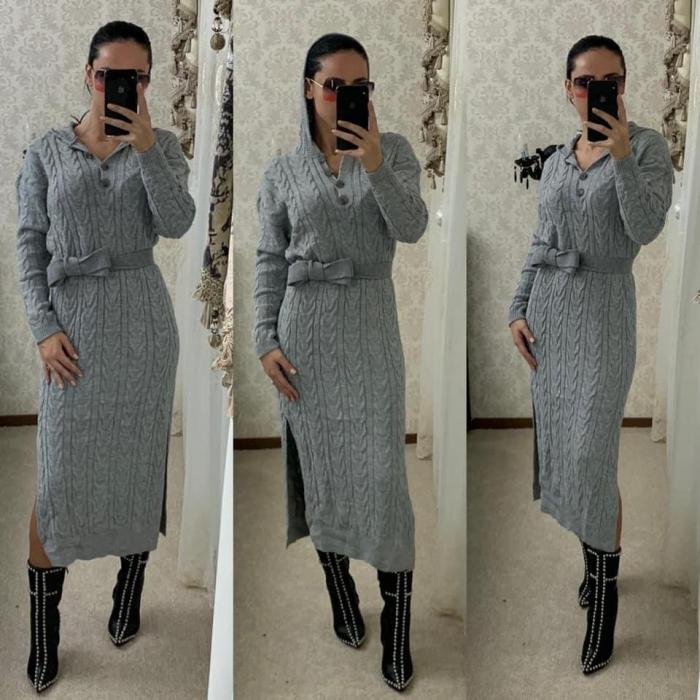 Rochie tricot MELANIE - GRI 1
