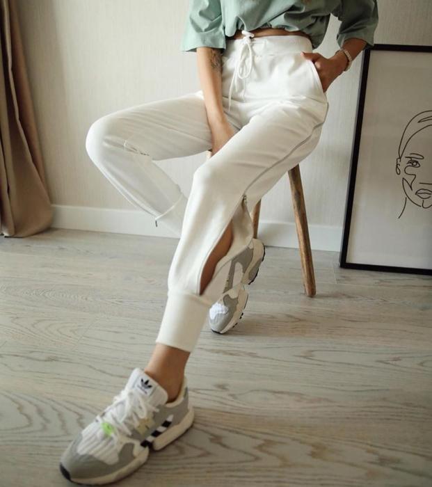 Pantaloni fermoar WHITE 2
