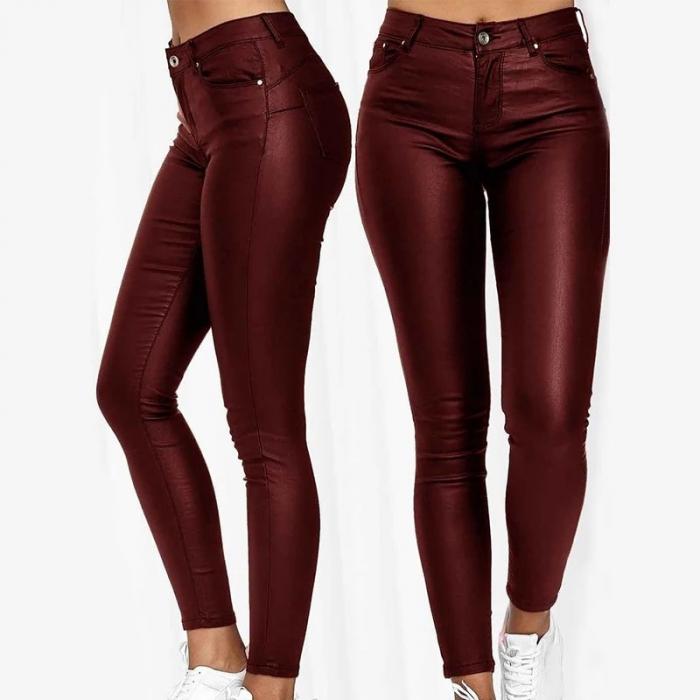 Pantaloni pelicula piele - Visiniu [0]