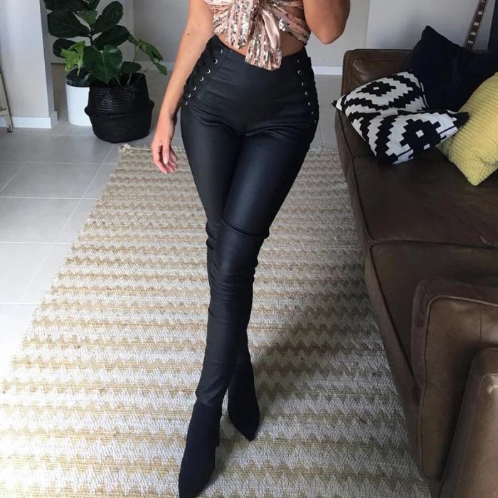 Pantaloni piele snur 2
