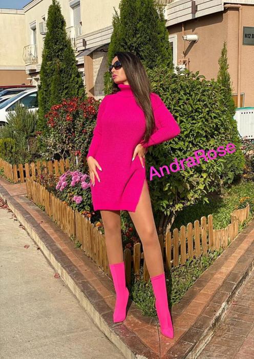 Rochie-pulover roz MELISSA [1]