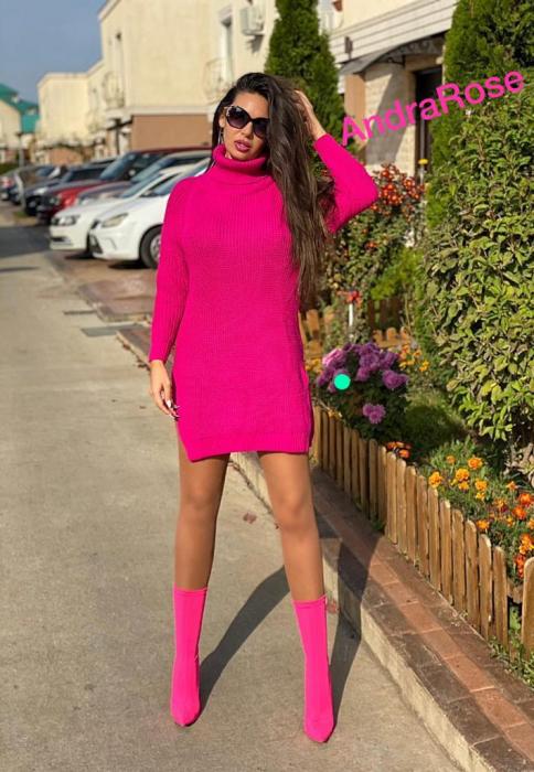 Rochie-pulover roz MELISSA [3]