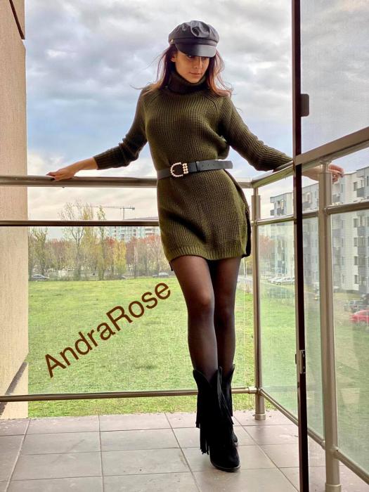 Rochie-pulover verde-kaki MELISSA 0
