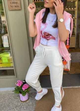 Pantaloni fermoar WHITE1