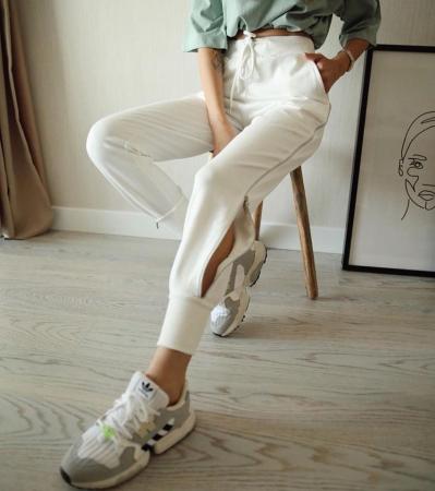 Pantaloni fermoar WHITE2