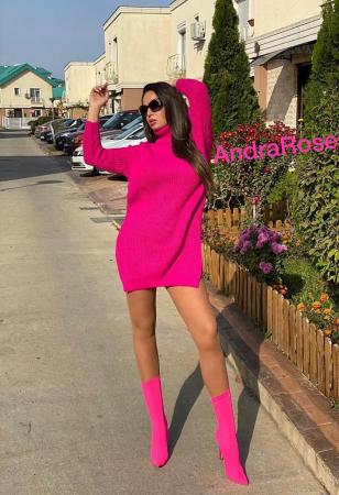 Rochie-pulover roz MELISSA [7]