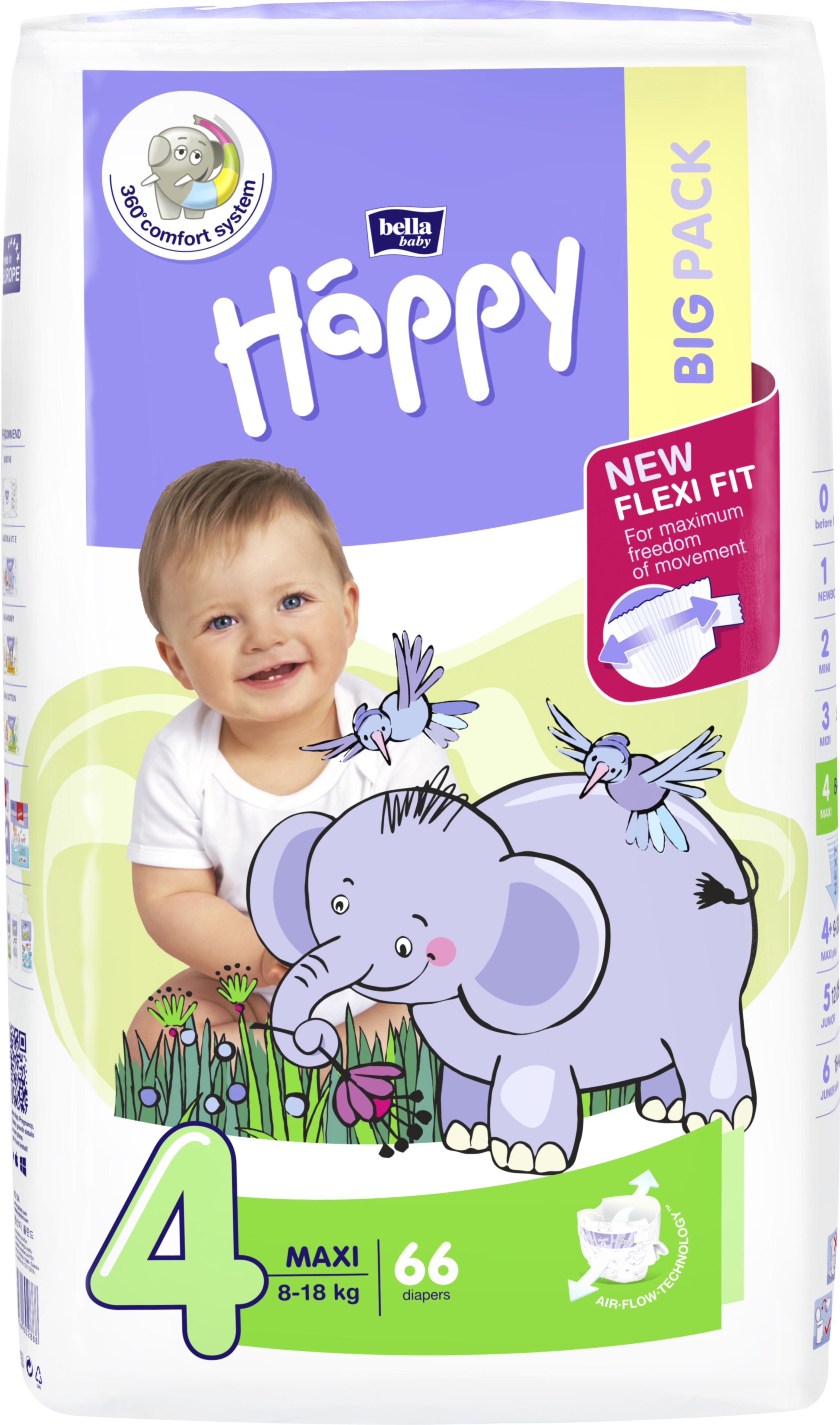 Scutece Happy 4 Big Pack Maxi 8-18 kg 66 buc. [0]