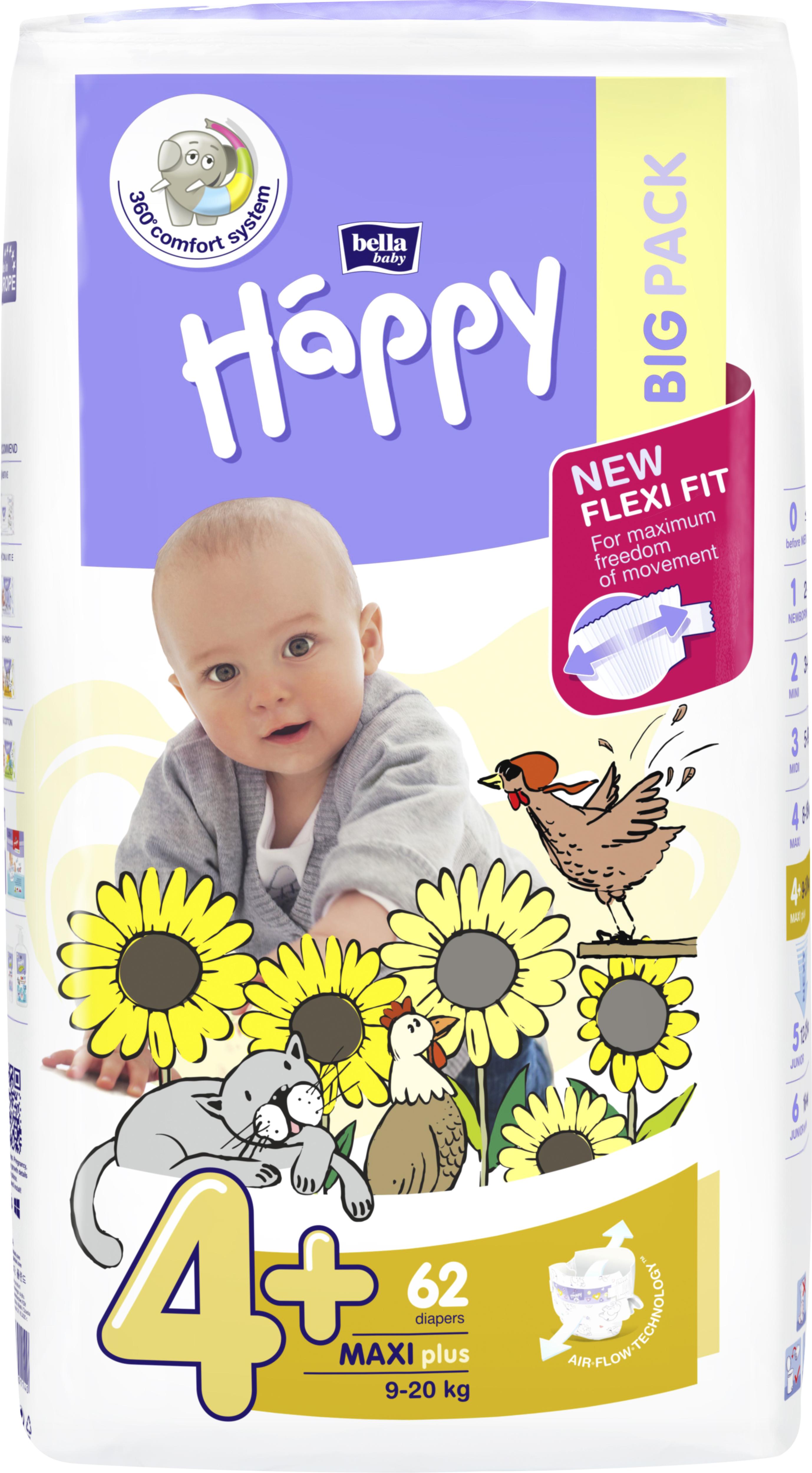 Scutece Happy 4+ Big Pack Maxi Plus 9-20 kg 62 buc. [0]