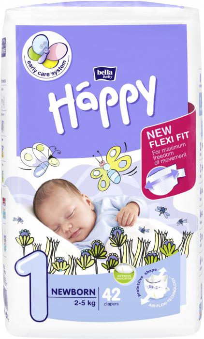 Scutece Happy 1 Newborn 2-5 kg 42 buc. [0]