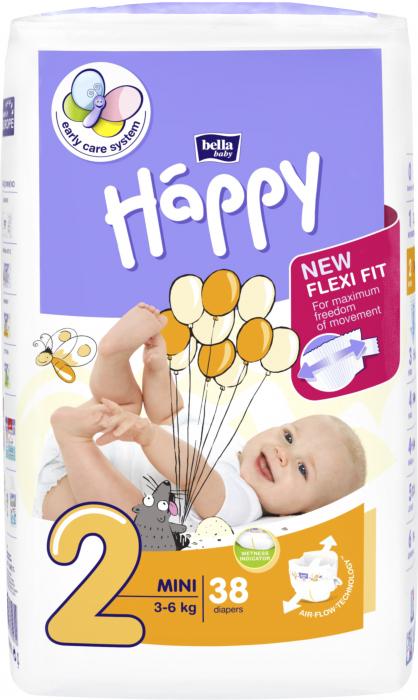 Scutece Happy 2 Mini 3-6 kg 38 buc. [0]
