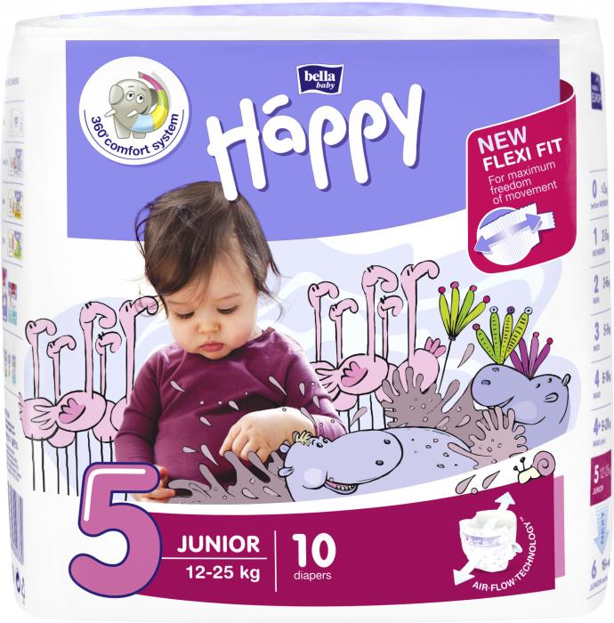 Scutece Happy 5 Junior 12-25 kg 10 buc. [0]