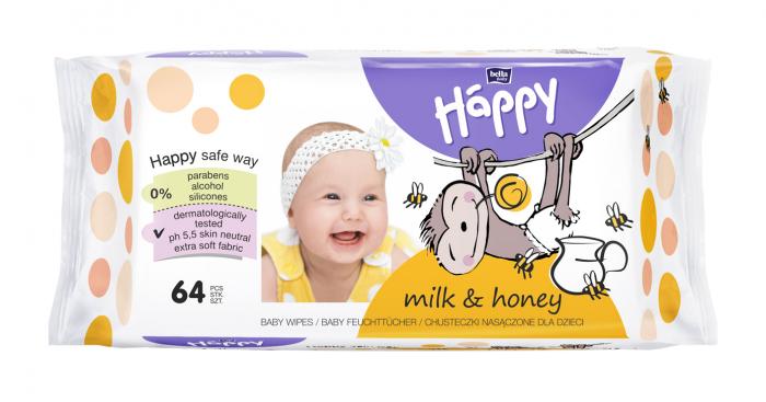 Servetele Umede Happy Milk & Honey 64 buc. [0]