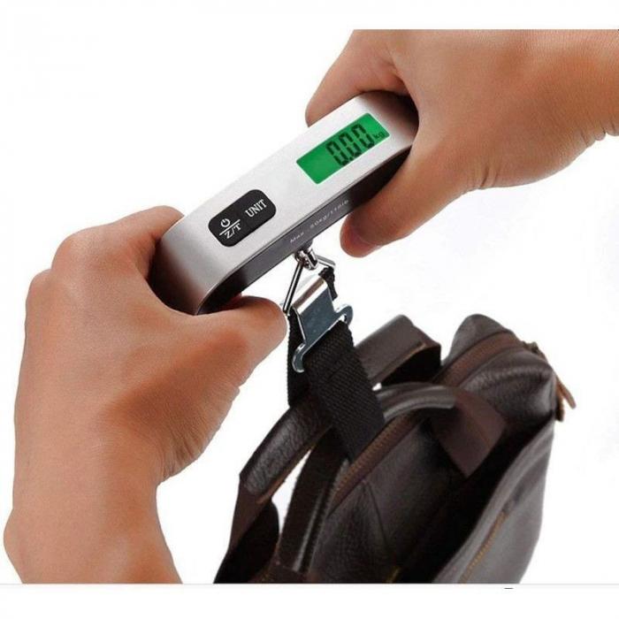 Cantar pentru bagaje Digital, capacitate 50kg, argintiu, functie masurare temperatura 2