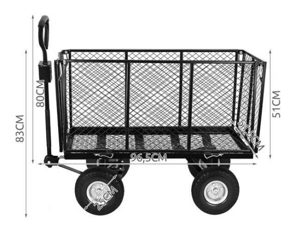 Carucior transport gradina 350 kg,roti pline PU maner reglabil,rabatabil  husa capacitate 250 litri Malatec 14
