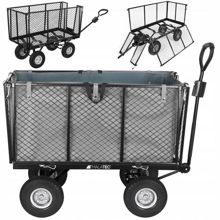 Carucior transport gradina 350 kg,roti pline PU maner reglabil,rabatabil  husa capacitate 250 litri Malatec 16