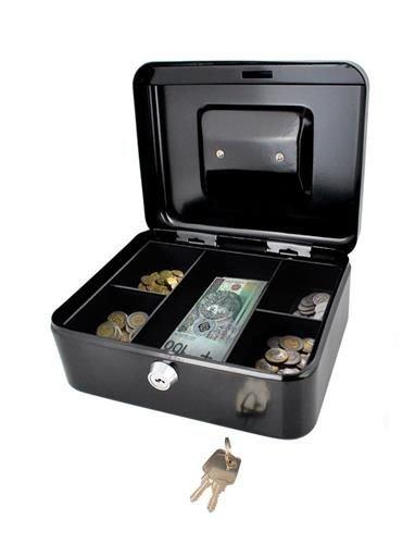 Caseta - Cutie din Metal pentru pastrat Bani, Inchidere cu Cheie, Culoare Negru, Dimensiuni 20x16x9cm 6
