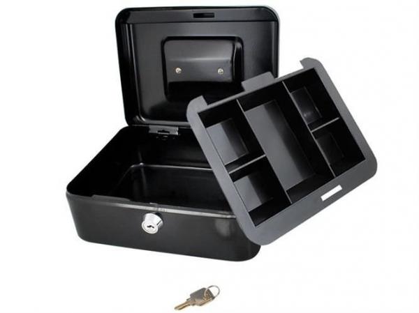 Caseta - Cutie din Metal pentru pastrat Bani, Inchidere cu Cheie, Culoare Negru, Dimensiuni 20x16x9cm 1