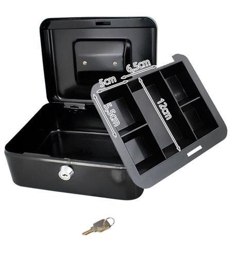 Caseta - Cutie din Metal pentru pastrat Bani, Inchidere cu Cheie, Culoare Negru, Dimensiuni 20x16x9cm 7