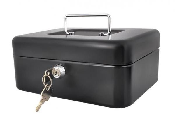 Caseta - Cutie din Metal pentru pastrat Bani, Inchidere cu Cheie, Culoare Negru, Dimensiuni 20x16x9cm 5