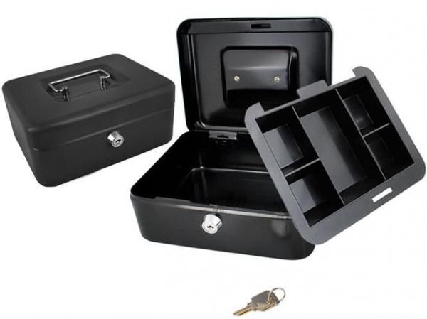 Caseta - Cutie din Metal pentru pastrat Bani, Inchidere cu Cheie, Culoare Negru, Dimensiuni 20x16x9cm 0