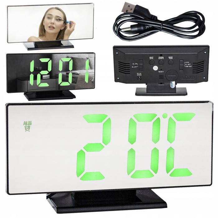 Ceas cu alarmă oglinda ceas termometru electronic cu LED 4 in 1 0