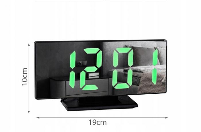 Ceas cu alarmă oglinda ceas termometru electronic cu LED 4 in 1 2