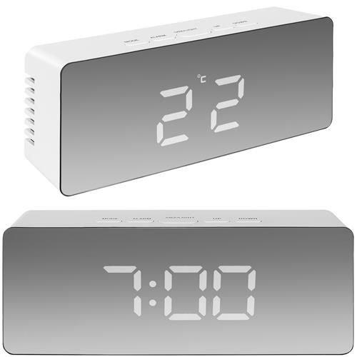Ceas cu alarmă tip oglindă 3 in 1 - alb [0]
