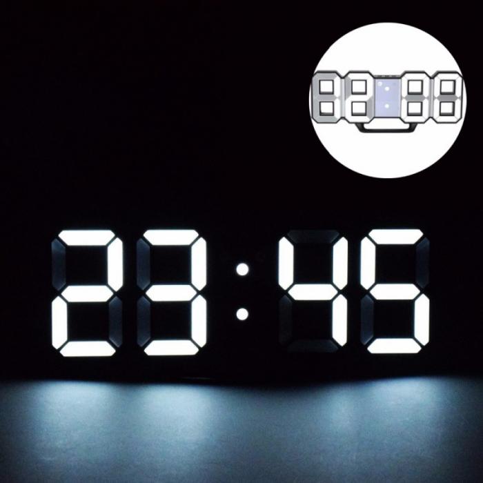 Ceas digital LED termometru data  functie alarma  fixare perete 12/24h 2
