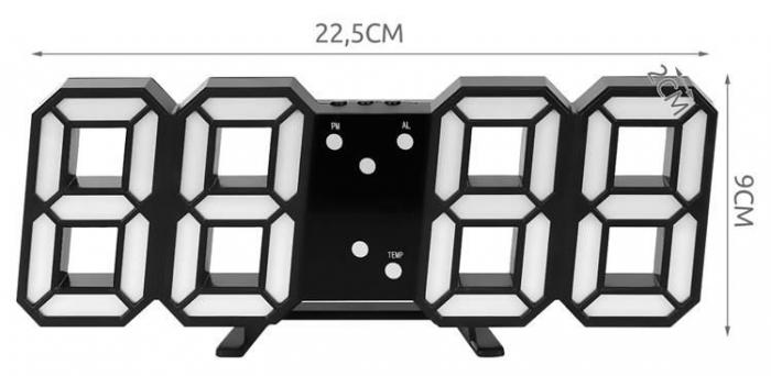 Ceas digital LED termometru data  functie alarma  fixare perete 12/24h 11