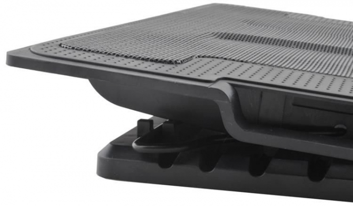 Cooler Laptop cu ventilator iluminat, 17 inch, 2 port USB, inaltime ajustabila, Negru [3]