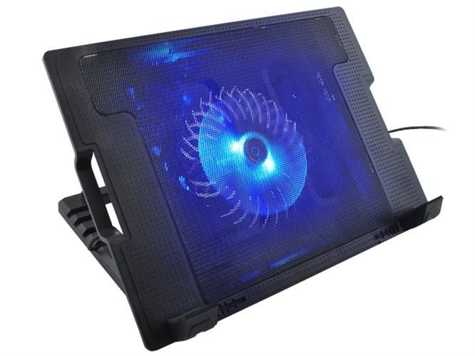 Cooler Laptop cu ventilator iluminat, 17 inch, 2 port USB, inaltime ajustabila, Negru [1]