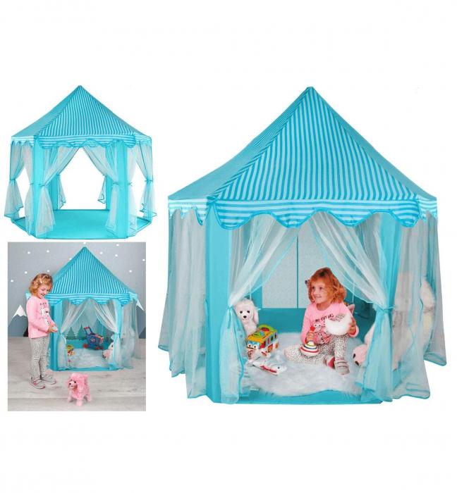 Cort pentru copii castel printese, 89cm, albastru pliabil 0