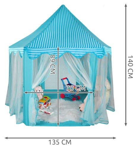 Cort pentru copii castel printese, 89cm, albastru pliabil 4