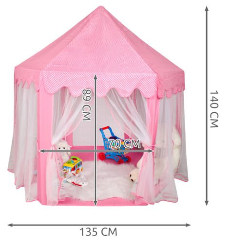 Cort pentru copii castel printese, 89cm, Roz [4]