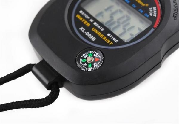Cronometru digital cu busola,  LCD, afisaj ora, calendar, functie alarma, snur, negru [1]