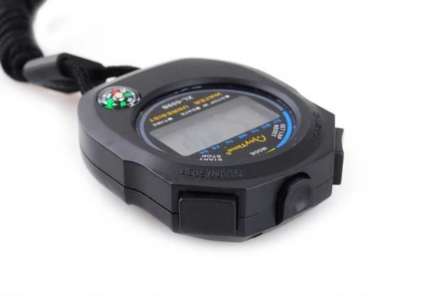 Cronometru digital cu busola,  LCD, afisaj ora, calendar, functie alarma, snur, negru [3]