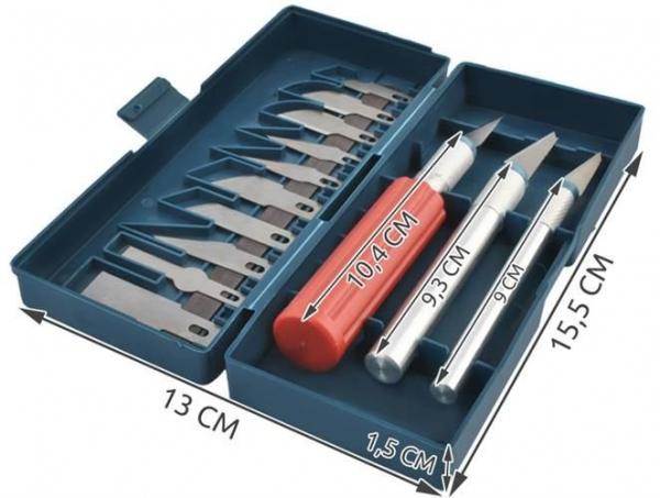 Cuțite de modelat precise de artizanat tip bisturiu lame de modelat cu banda magnetica - set 16 buc cutie 11