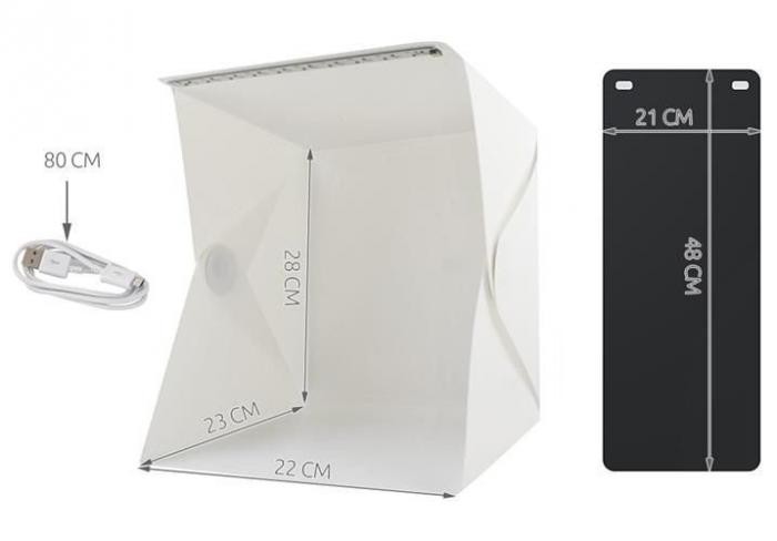 Cub foto pliabil, 20 LED-uri SMD, microUSB 5V, fundal alb negru, PVC [0]