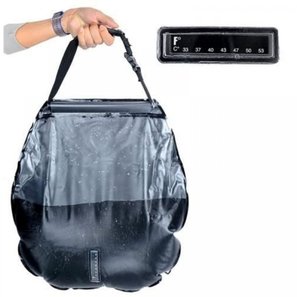 Dus solar portabil pentru camping, MT MALATEC, capacitate 20 litri, termometru, buzunar dublu [2]